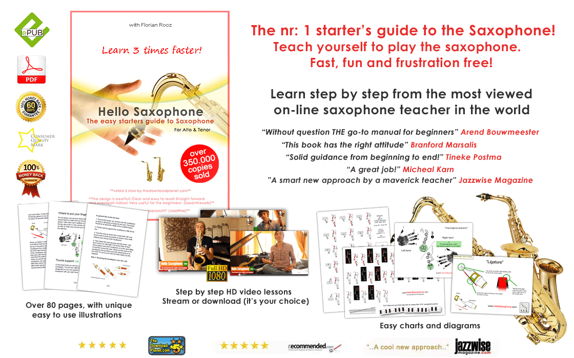 The nr 1 starters guide to the saxophone. Learn to play the saxophone. Teach yourself to play the saxophone step by step from the most viewed saxophone teacher on youtube.  Without question the best manual for beginning saxophone players Solid guidance for beginning saxophone players Buy the best guide for saxophone The best guide for learning to play saxophone best price for learning to play saxophone buy a saxophone manual or guide  Unique illustrations to help you learn to play saxophone. Step by step video lessons to help you play saxophone, Easy charts and diagrams to learn to play saxophone