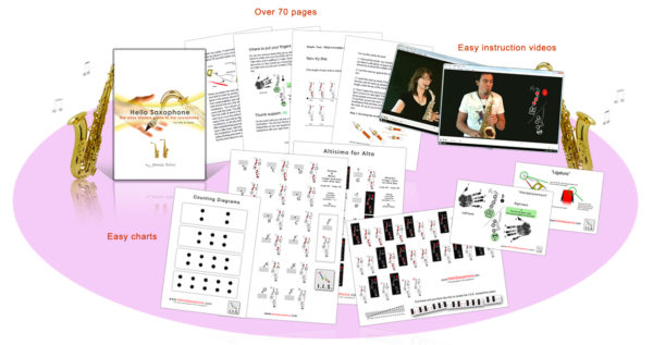 Hello saxophone E-book includes - learn to play the saxophone - how to play the saxophone