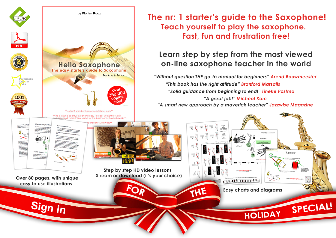 Learn to play the saxophone, learning to play the saxophone The nurmber one starter's guide to the saxophone. teach yourself to play the saxophone. Fast fun and frustration free. Learn the saxophone step by step from the most watched saxophone teacher in the world